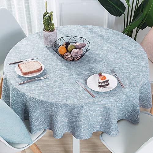 LZC Algodón y Lino Home Restaurant Mantel Redondo de Color Liso Mantel Moderno Minimalista Moderno, Azul Claro, diámetro 80 cm