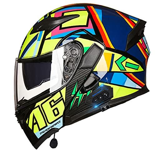 NS Casco Moto Bluetooth 2 En 1 Integral Media Cara Flip Modular Motocicleta Bluetooth Motocross Casco De Vehículo De Motor Calle Ciclomotor Viseras Dobles (Color : O, Size : XXXL)