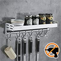 wangel mensola organizer con 7 gancio, porta utensili da cucina, barra portautensili cucina per spezie, colla brevettata + autoadesivo, alluminio, finitura opaca
