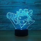 Bbdeng Lol Teemo 3D Stereo Nachtlicht Touch Farbe Bunte Led Tischlampe Sichtbar Schlafzimmer...