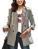 LookbookStore Women's Casual Khaki Check Plaid Loose Buttons Work Office Blazer Long Jacket Suits Size L