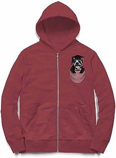 Fox Republic 角帽 ポケット フレンチブルドッグ 犬 バーガンディー キッズ パーカー シッパー スウェット トレーナー 130cm
