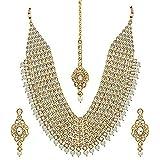 Kundan Pearl Maroon - Juego de collar de joyería larga con pendiente Maang Tikka pendientes para mujer a1299 02