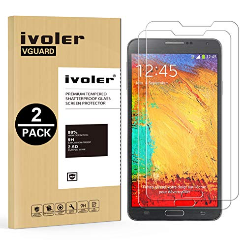 ivoler [2 Unidades] Protector de Pantalla Compatible con Samsung Galaxy Note 3, Cristal Vidrio Templado Premium [9H Dureza] [Ultra Fina 0,3mm] [2.5D Round Edge]
