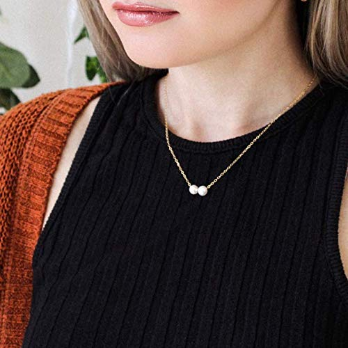 Gift For Her Dainty Necklace Pearl Necklace Gold Plated Necklace Beaded Necklace Minimalist Necklace