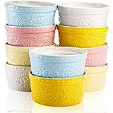 ZEAYEA Juego de 10 ramekins de porcelana, 6 onzas en relieve Souffle Bowls Dish para Creme Brulee Postre, Horno seguro pudín platos para hornear, varios colores