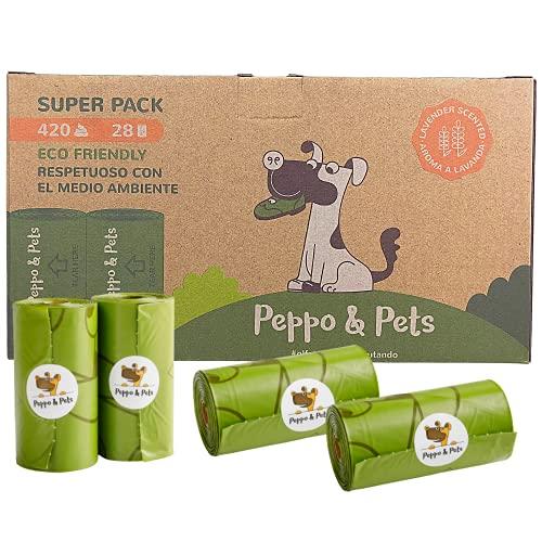Peppo and Pets - 420 Bolsas caca perro-28 rollos - Biodegradables -Aroma a lavanda-Opacas - Muy resistentes-A prueba de fugas