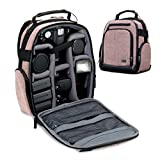 USA GEAR Portable Camera Backpack for DSLR (Brown) with Customizable Accessory Dividers, Weather Resistant Bottom and Comfortable Back Support - Compatible with Canon, Nikon and More