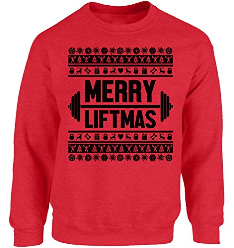 Vizor Merry Liftmas Christmas Sweatshirt for Men and Women Ugly Christmas Sweater for Lifting Workout Lifting Weights Xmas Red XL