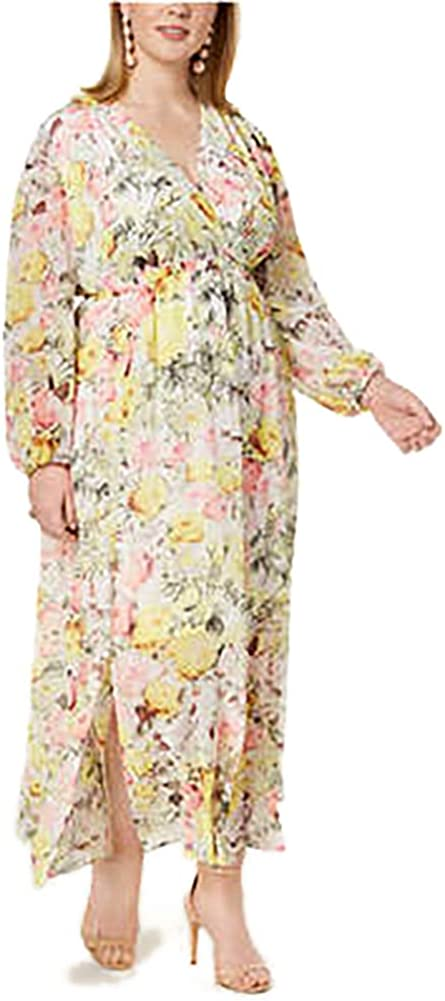 INC Womens Plus Long Sleeves Floral Print Maxi Dress