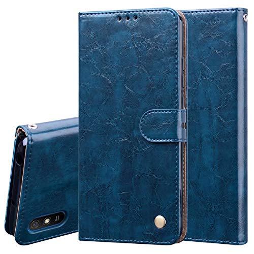 Nadoli Leder Hülle für Xiaomi Redmi 9A,Retro Ölwachs Premium Pu Leder Magnetverschluß Ständer Klapptasche Kartenfäche Flip Schutzhülle Tasche Brieftasche