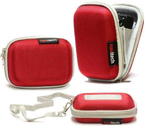 Navitech Rot Wasser Widerständige Harte Digitalkamera Tasche für das Medion Life P44066 Wie In Aldi