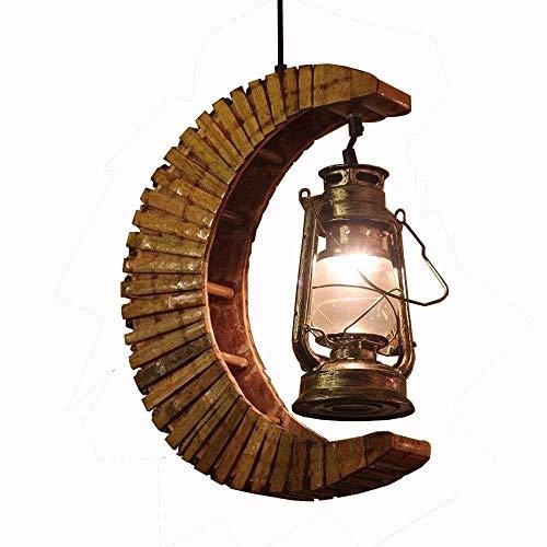 Diseño Personalizado Sureste asiático bambú de la Media Luna Luna Cadena pendiente de la luz de techo Corredor de bambú con la linterna de cristal pendiente de la luz de la lámpara pendiente del resta