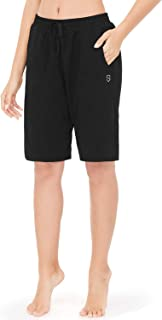 Soniz Women's Active Workout Yoga Shorts Lounge Indoor Bermuda Shorts Home Workout Big Pockets