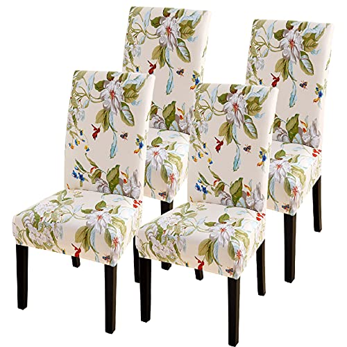 NIBESSER Chair Covers for Dining Room, Stretch Spandex Kitchen Chair Covers Removable Washable Chair Slipcover Elastic Parsons Chair Protector Slipcover for Hotel, Ceremony(Beige/Green, Set of 4)