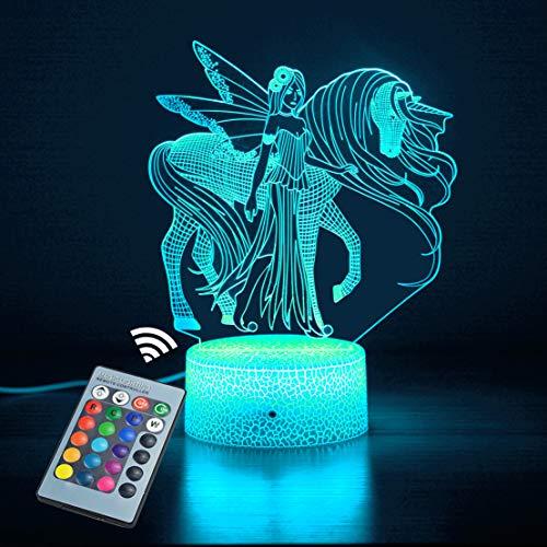Lumière Princesse 3D, Lumière de nuit pour les enfants, Jouets pour les filles, Lumière de nuit USB tactile 16 couleurs et télécommande, Cadeaux pour les filles de 6 à 10 ans