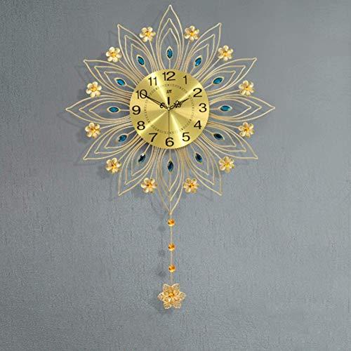 CCAN Huhn Decoración del hogar Reloj de Pared de Pavo Real de Estilo Europeo, Reloj de Cristal para Sala de Estar, Reloj de Pared silencioso Creativo Reloj de Cuarzo-b 90x64cm (35x25inch)