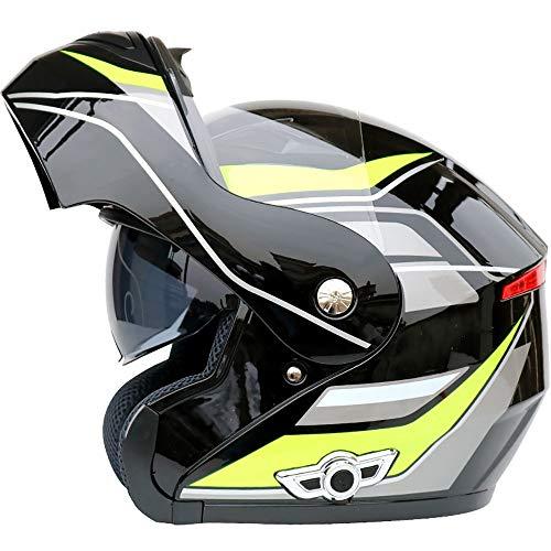 NAINAIWANG Motorcycle Bluetooth Helmets Modular Flip up Dual Visors Full Face Motorbike Crash Helmets DOT/ECE Approved Helmet Built-in Mp3 FM Radio Integrated Intercom Communication System