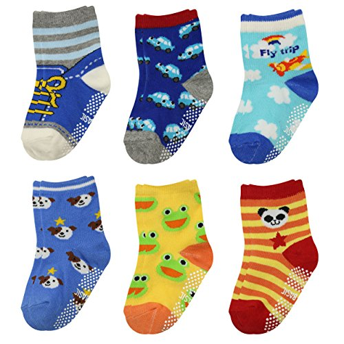 GOPOWD 6 pares Bebé Calcetines Antideslizantes ABS para los 1-36 Meses Niños Color Aleatorio