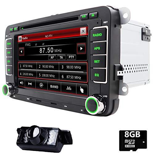 7pulgadas Doble Din En Dash coche estéreo para VW Volkswagen Golf Polo Passat Jetta Tiguan, Eos, Touran Scirocco Skoda Asiento con reproductor de DVD de apoyo de GPS USB SD Radio Bluetooth