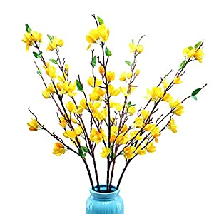 RIABXZ Artificial Winter Jasmine Flower Branches, 95cm Tall Yellow Silk Flowers with Long Stem, Faux Jasmine Plants DIY Floral Arrangement Vase Filler for Home Office Wedding Table Decor(Yellow)
