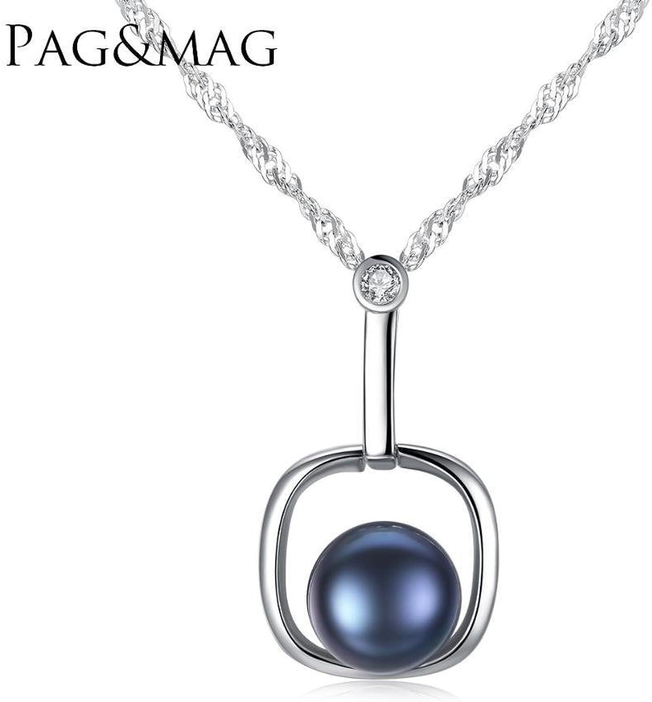 Haixng Reines Silber Anhänger Wasser Welle Kette Ornament natürliche Süßwasser Perle antiallergische Perlenkette Kette Lang 40 + 5 cm (Einstellbar) B07BQB8LYG