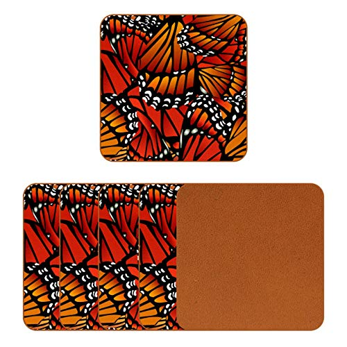 BENNIGIRY Monarch Butterfly Pattern Wings Leather Coasters Coffee Mug Square Glass Mug Placemats for Cups Placemats 6 Pcs