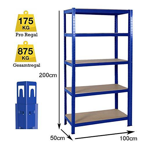Lagerregal Metallregal Kellerregal Steckregal Werkstattregal Schwerlastregal 5 soliden Böden MDF Höhenverstellbar, bis 875 kg Traglast, 200x100x50cm, Blau