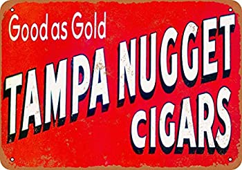 ZMKDLL 20x30 cm Tin Sign Tampa Nugget Cigars Vintage Look Metal Sign 8x12 Inches Wall Decor