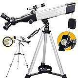 Telescopio Astronómico para Adultos, Niños, Principiantes, Apertura de 60 mm, Telescopio Refractor de Aumento 20X-167X, Telescopio Portátil con 3 Oculares Giratorios, Trípode, Adaptador de Teléfono