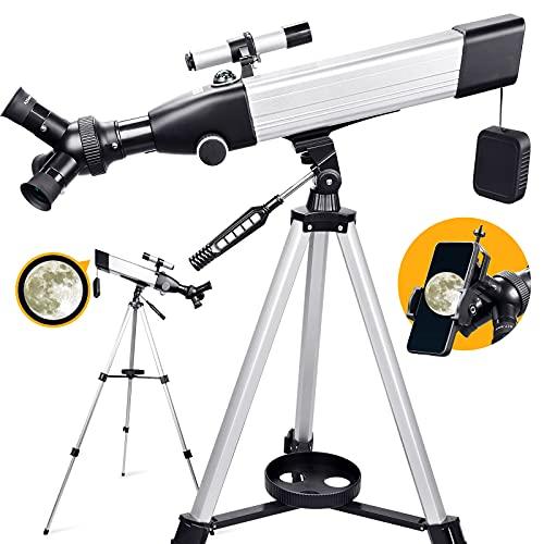 Telescopio Astronomico per Adulti, Telescopio Rifrattore con Ingrandimento 20X-167X, Telescopio Portatile con 3 Oculari Rotanti, Treppiede, Adattatore Telefonico per Bambini Principianti