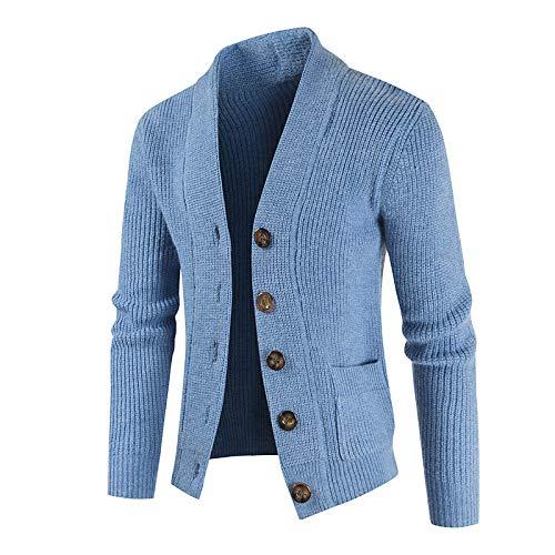 Chaqueta Tipo suéter de un Solo Pecho de Color sólido para Hombre, Informal, cómoda, Solapa de Todo fósforo, Ajuste Delgado, Abrigo clásico básico de Punto L