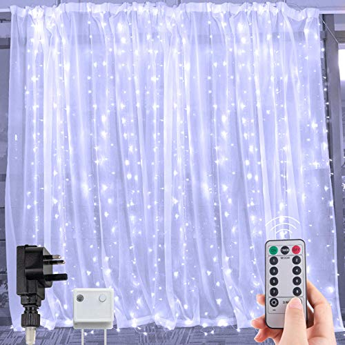 300 LED Curtain Lights Icicle String 3M X 3M, Plug in Fairy Lights Remote Control Timer 8 Lighting Modes, Connectable Waterproof Twinkle Starry Decorations for Wedding Party Flat Window, Pure White