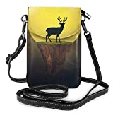 Deer On Float Island Moon Buck Leather Mini Crossbody Shoulder Mobile Phone Purse Pocket For Women Outdoor...