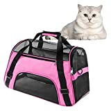 Soft Pet Carrier Airline Approved Soft Sided Pet Travel Carrying Handbag Under Seat Compatibility, Perfect for Small Cats and Small Dogs Breathable 4-Windows Design-Small Size (Pink)