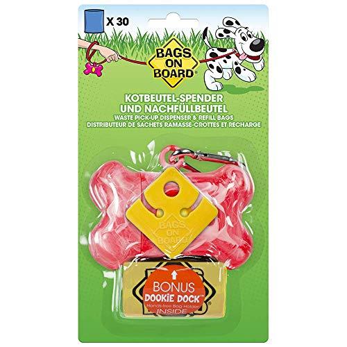 Bags on Board 3203990005-4p Dispenser Porta Sacchetti a Forma di Osso, Rosa