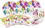 HEKU 30005, Set di stoviglie monouso per feste, con piatti, bicchieri e tovaglioli, 120 pe...