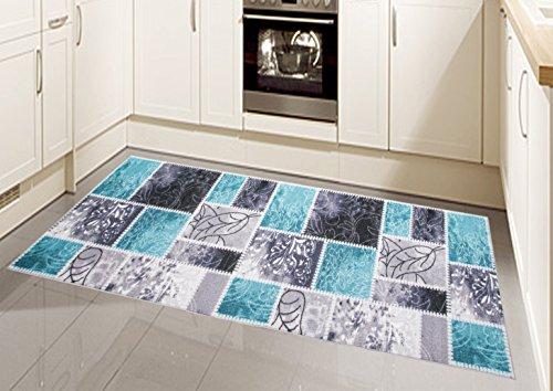 Teppich Modern, Flachgewebe, Gel-Läufer, Küchenteppich,Grau Tukis (TraumTeppich) Größe 80 x 300 cm