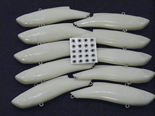 wLure 10 Blank Unpainted Lipless Sinking Long Casting Fishing Lures with Free Eyes UPL676LP10