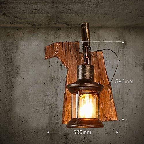 noulerd Self-Stallation Artisanat en Bois Rétro Mur Adorn Lampe Décoration, Café Store Lounge Creative Chambre Lampe Lanterne Chevet Mur Sgle Tête E27 58 * 58Cm Sélectionner,58 * 58cm