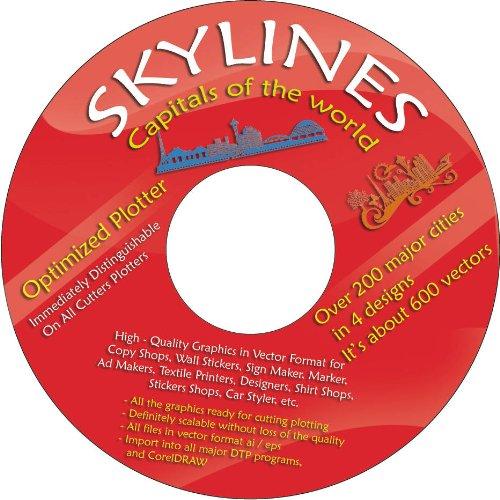 Vektoren CD 1 - 200 Skylines Hauptstädte der Welt in 4 Design 800 Stück für Wandtattoos, Aufkleber, Textildruck
