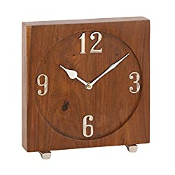 Deco 79 42183 Square Aluminum and Mango Wood Table Clock, 8 x 8, Brown/Silver