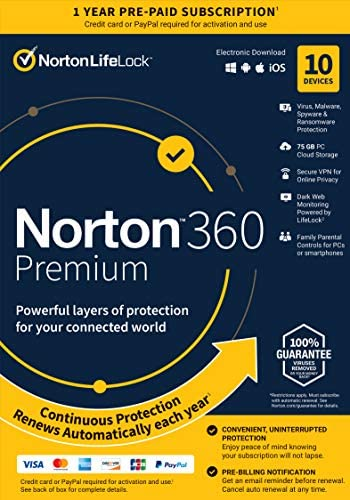 Norton 360 Premium 2021 Antivirus Software for 10 Devices with Auto Renewal Includes VPN PC product image