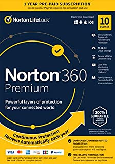 Norton 360 Premium 2021 – Antivirus Software for 10 Devices with Auto Renewal - Includes VPN, PC Cloud Backup & Dark Web Monitoring Powered by LifeLock [Key card] (B07QCVZW81) | Amazon price tracker / tracking, Amazon price history charts, Amazon price watches, Amazon price drop alerts