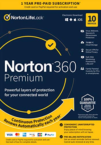 Norton 360 Premium 2021 – Antivirus Software for 10 Devices with Auto Renewal - Includes VPN, PC Cloud Backup & Dark Web Monitoring Powered by LifeLock [Key card]