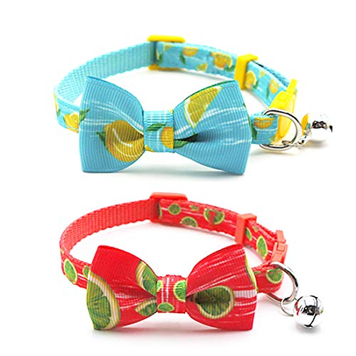 azuza Cat Collar with Bell, Adjustable Cat Collar with Bowtie, Safety Breakaway Cat Collars, 2 Pack