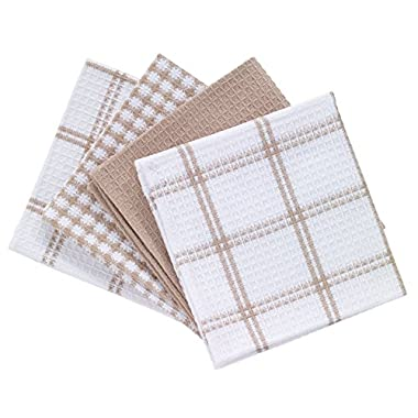 T-fal Textiles 24359 100% Cotton Waffle Weave Kitchen Dish Cloths, 12  x 13 , Set of 4 Designs, Sand
