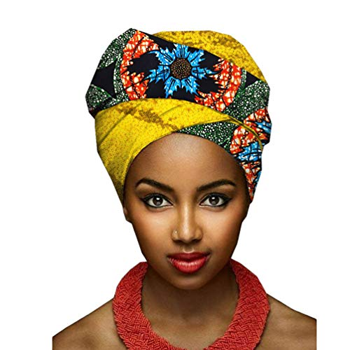 Yijinstyle Turbante Bufanda de Impresión Ethnic Pañuelo Headwrap de Colores Brillantes Africana para Mujer (Style#6, 50 * 180cm)