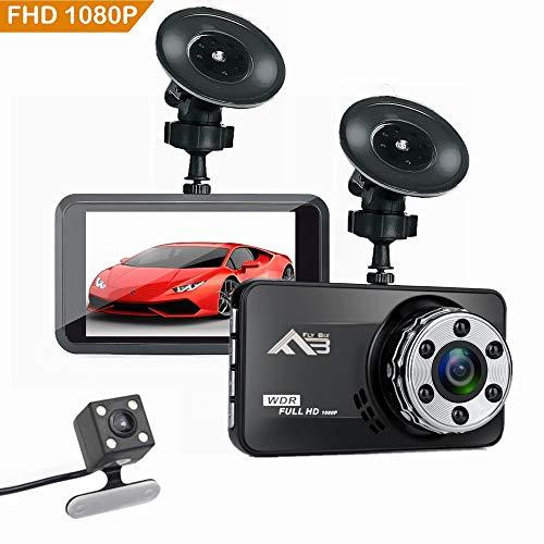 Flybiz Cámara De Coche 1080P Full HD, Dash CAM 170°Gran Ángulo, Supercondensador, WDR Visión Nocturna Dashcam con G-Sensor, Grabación en Bucle y Detección de Movimiento