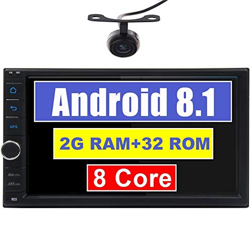 Android 8.1 Car Stereo 2 din Head Unit 7 Inch Capacitive Touch Screen Double Din Car GPS Navigation Radio Octa-core CPU Bluetooth OBD2 DVR 4G WiFi 1080P Video Subwoofer Video Out with Backup Camera